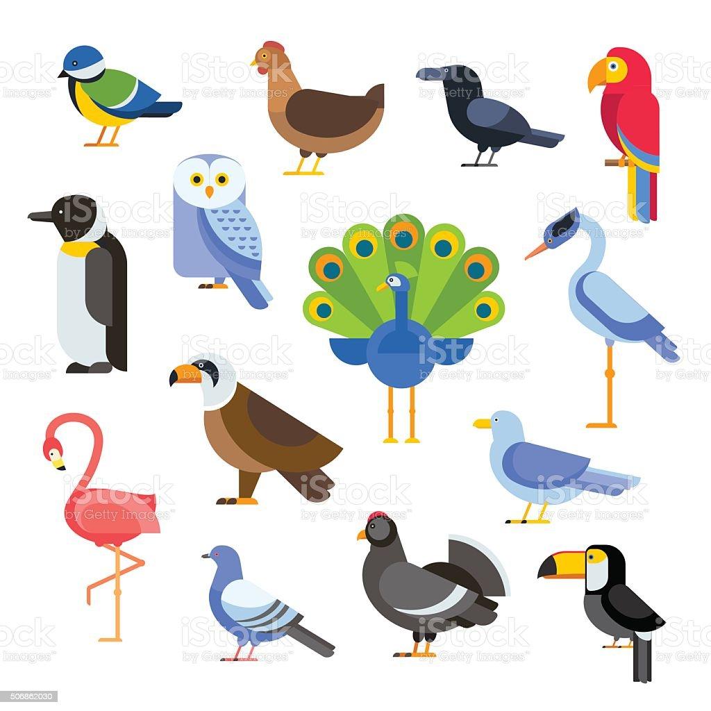Birds vector set illustration. Egle, parrot, pigeon and toucan. Penguins vector art illustration