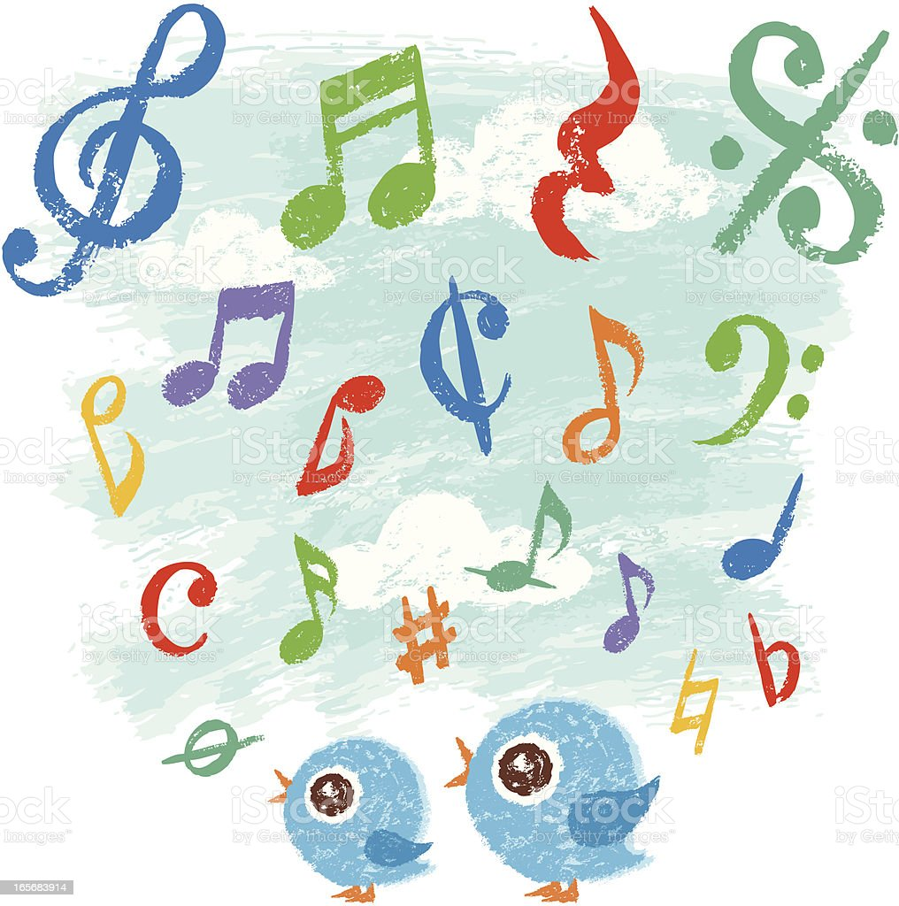 Birds who are singing royalty-free stock vector art