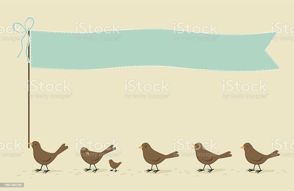 Birds with flag pennant royalty-free stock vector art