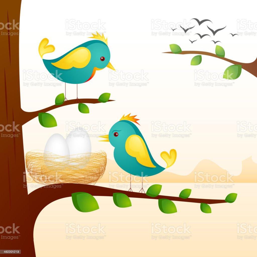 Birds with Nest royalty-free stock vector art