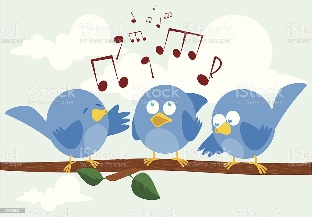 Birdsong vector art illustration