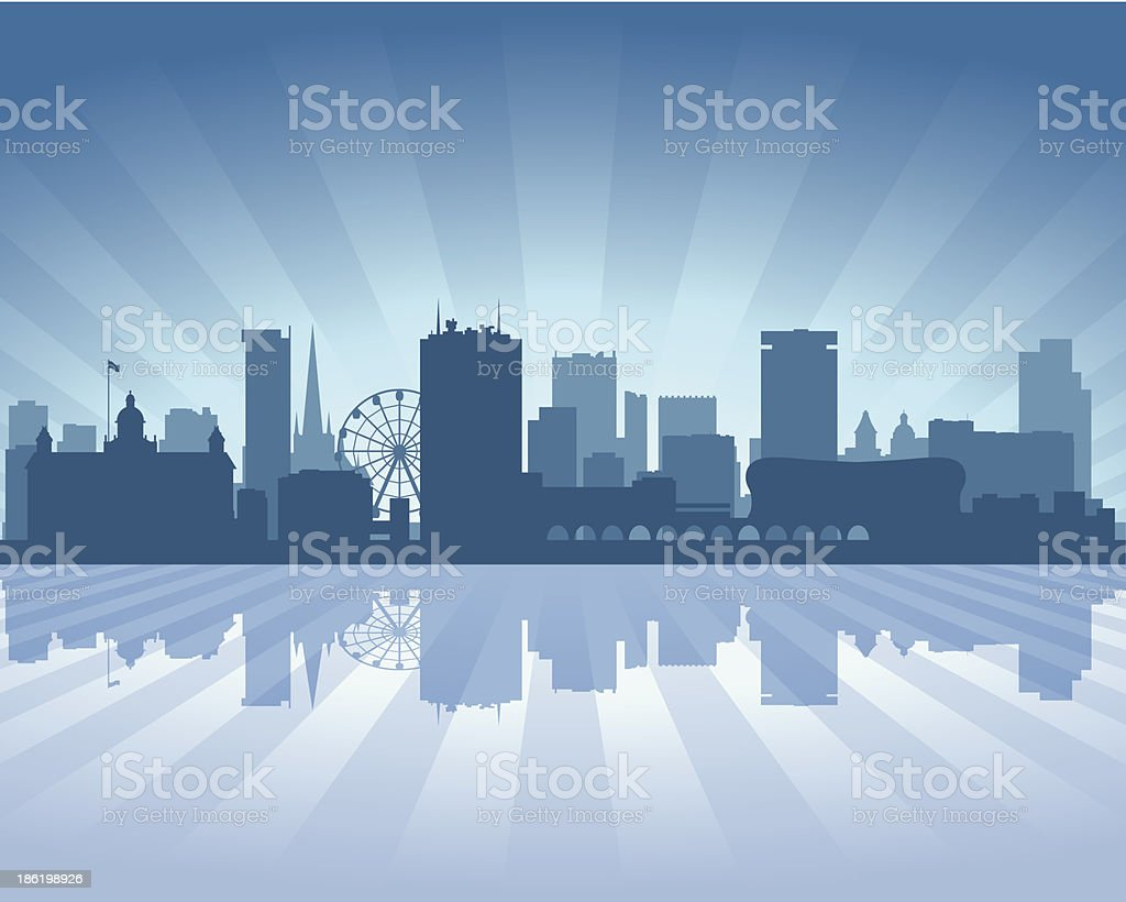 Birmingham England Blue City skyline silhouette vector art illustration