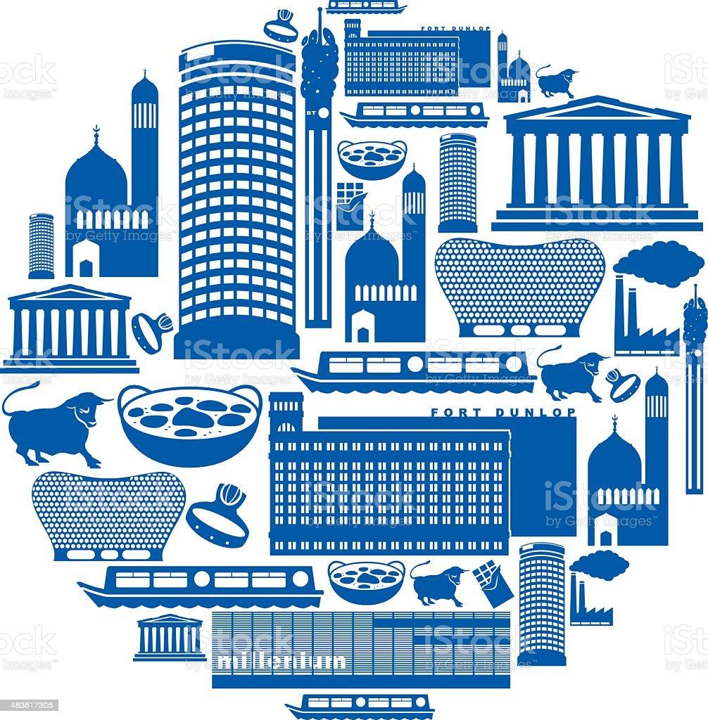 Birmingham Icon Montage vector art illustration