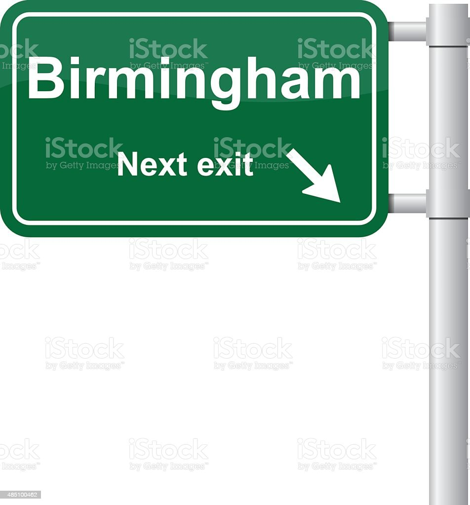 Birmingham next exit green signal vector vector art illustration