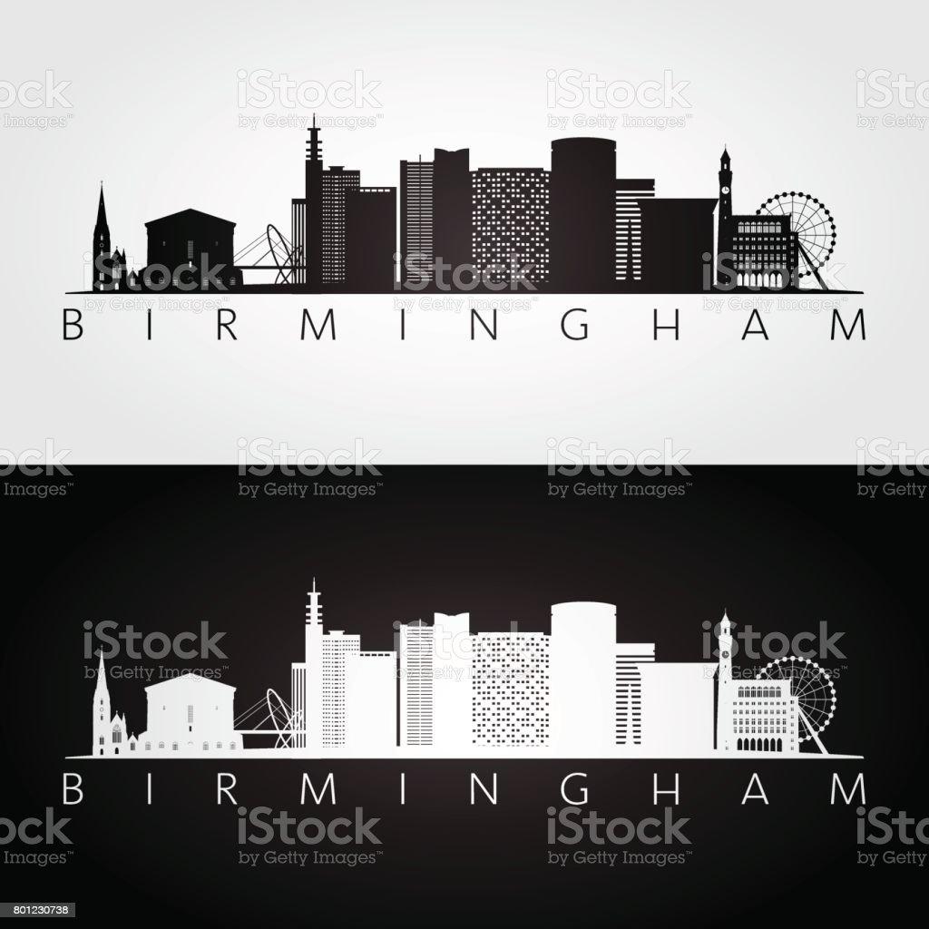 Birmingham skyline and landmarks silhouette, black and white design, vector illustration. vector art illustration