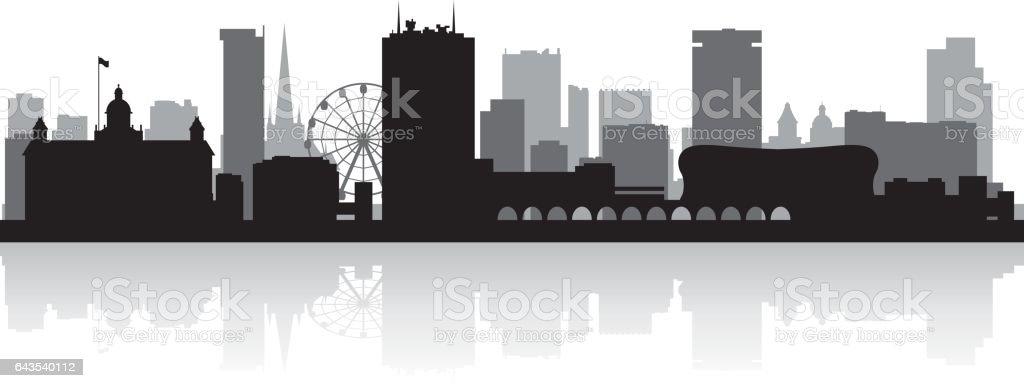 Birmingham UK city skyline silhouette vector art illustration