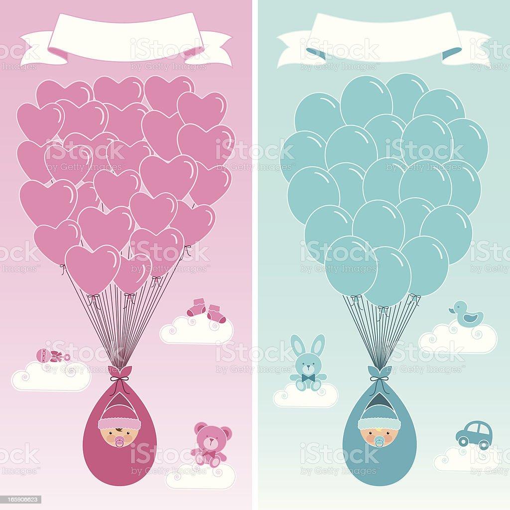 Birth Announcement Banners vector art illustration