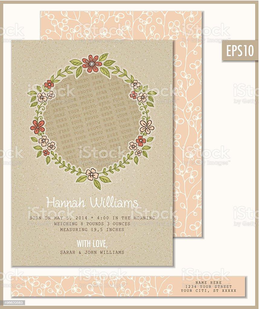 Birth Announcement Flat Card Template vector art illustration