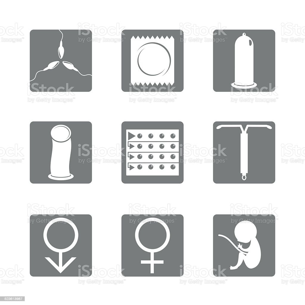 Birth control methods, sex icons vector art illustration