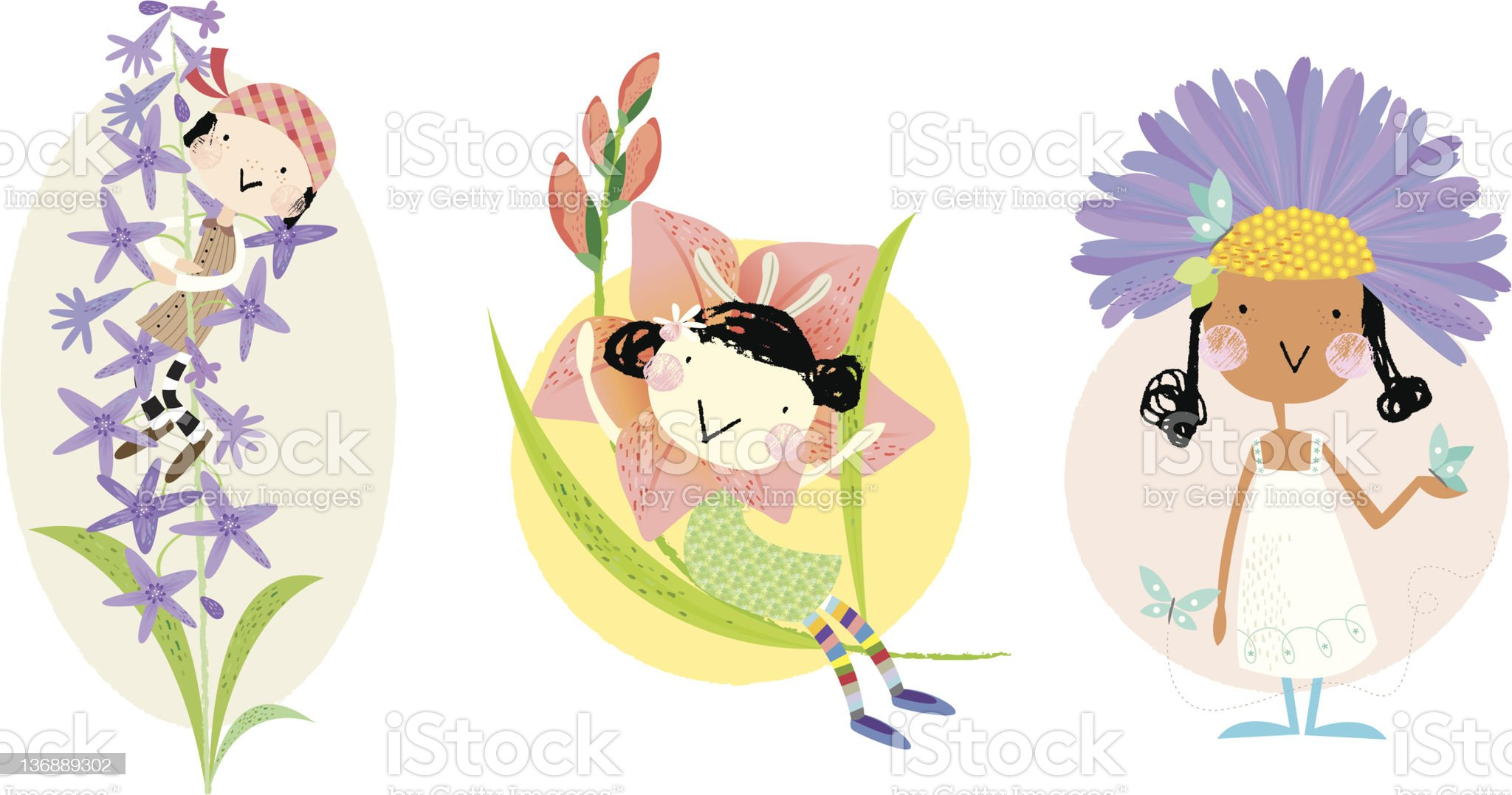 birth flower July to September royalty-free stock vector art