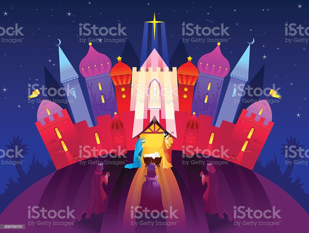 Birth of Christ Nativity Scene vector art illustration