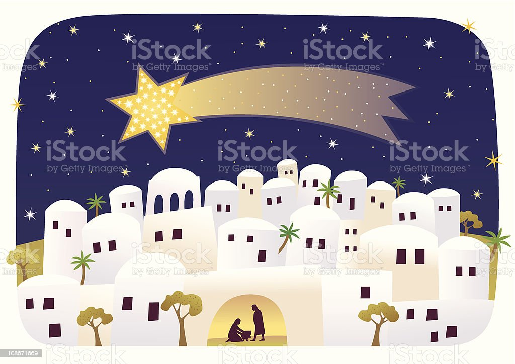 Birth of Messiah and Star royalty-free stock vector art