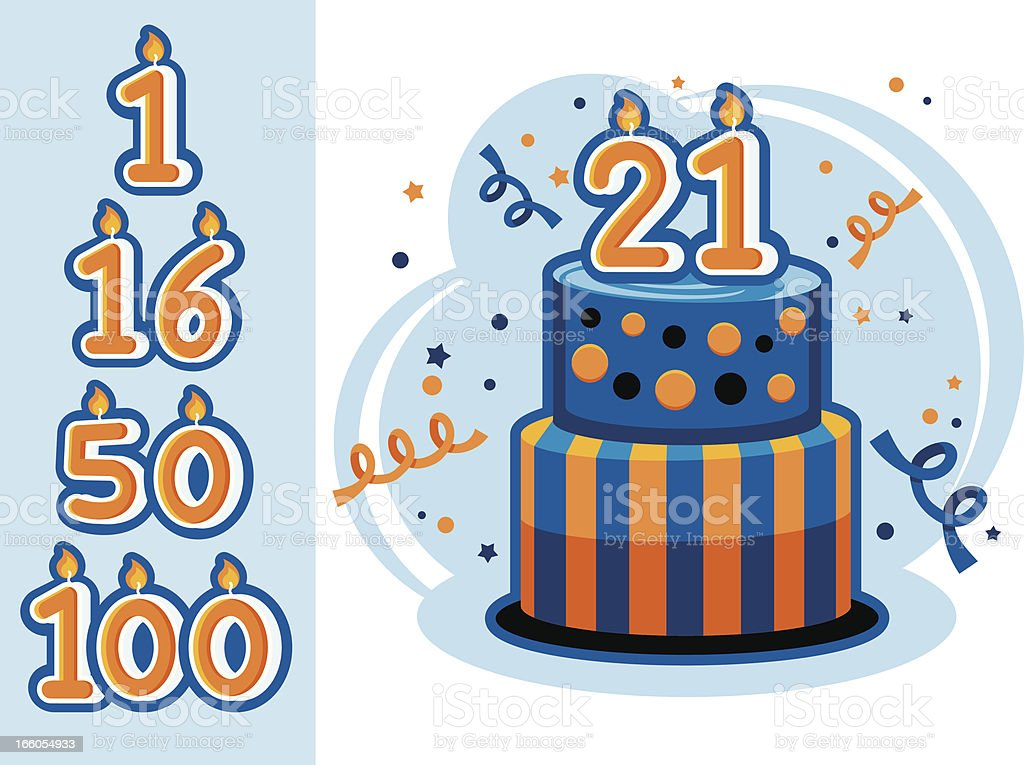 Birth or Anniversary Cake vector art illustration