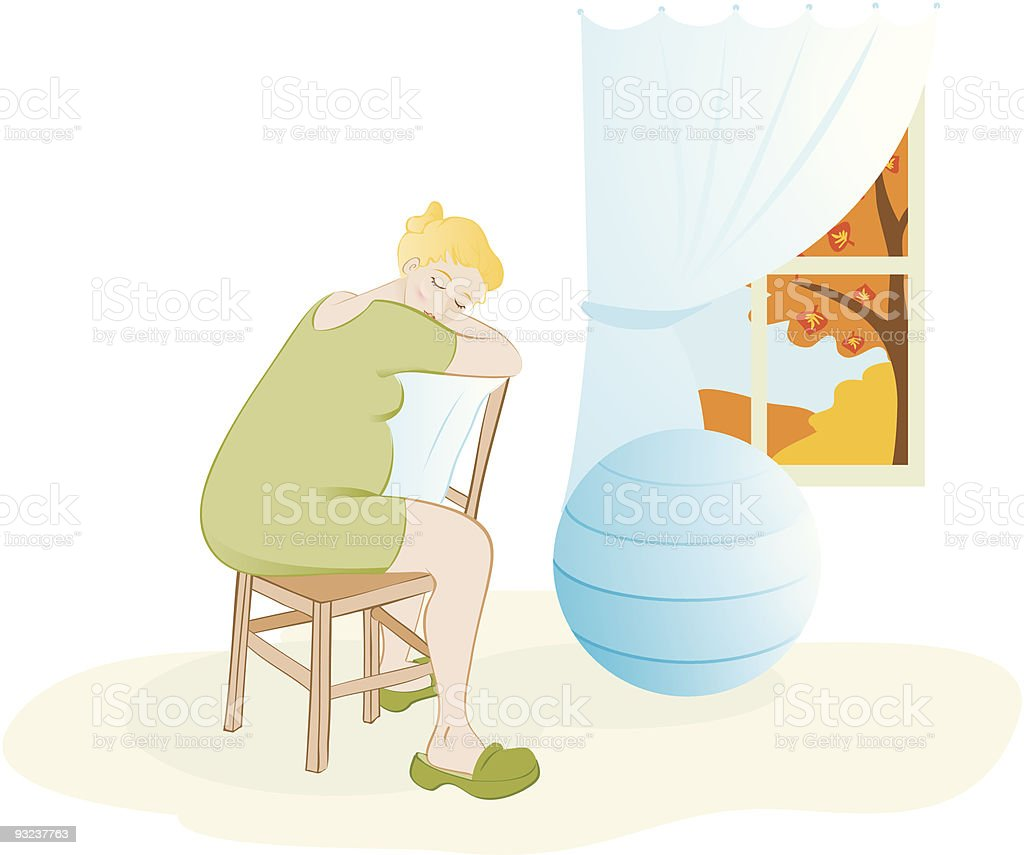 Birth - sitting in a chair backwards position vector art illustration