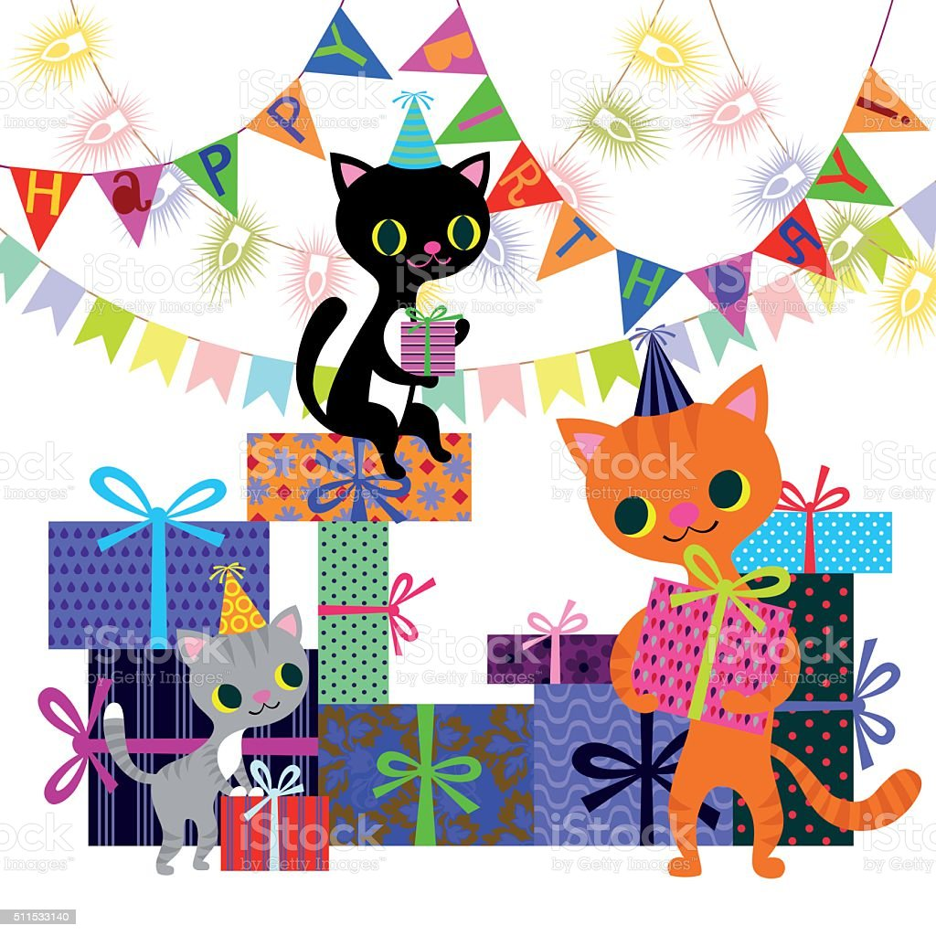 Birthday and Cats with Boxes of Presents vector art illustration