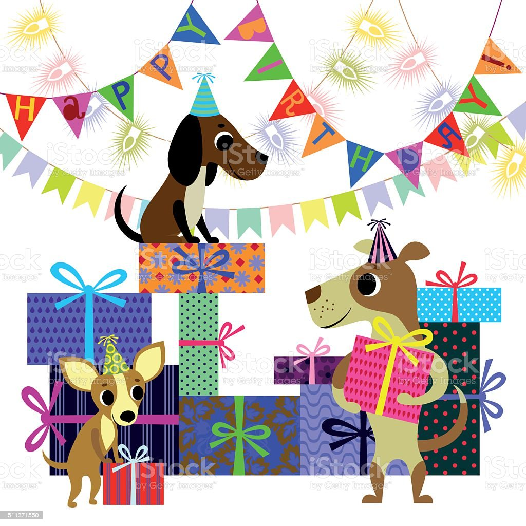 Birthday and Dogs with Boxes of Presents vector art illustration