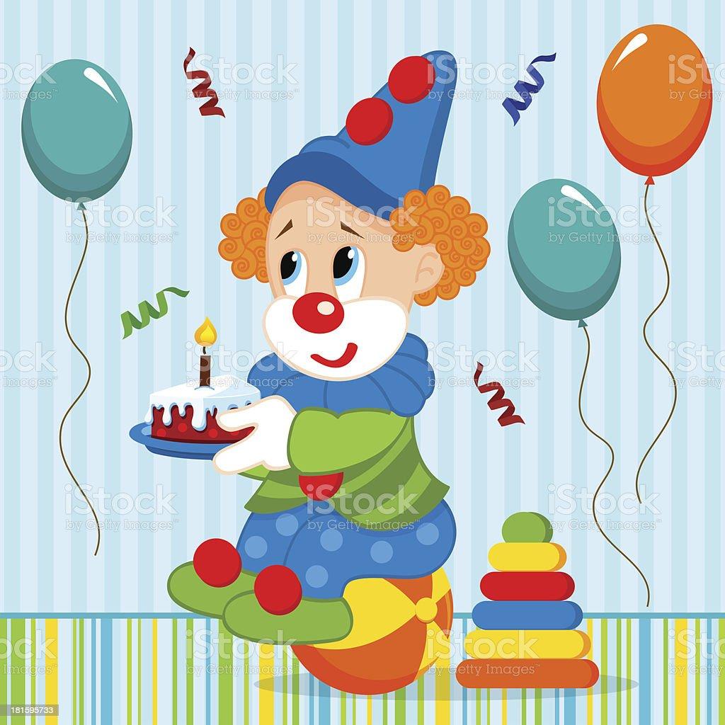 birthday baby, clown royalty-free stock vector art