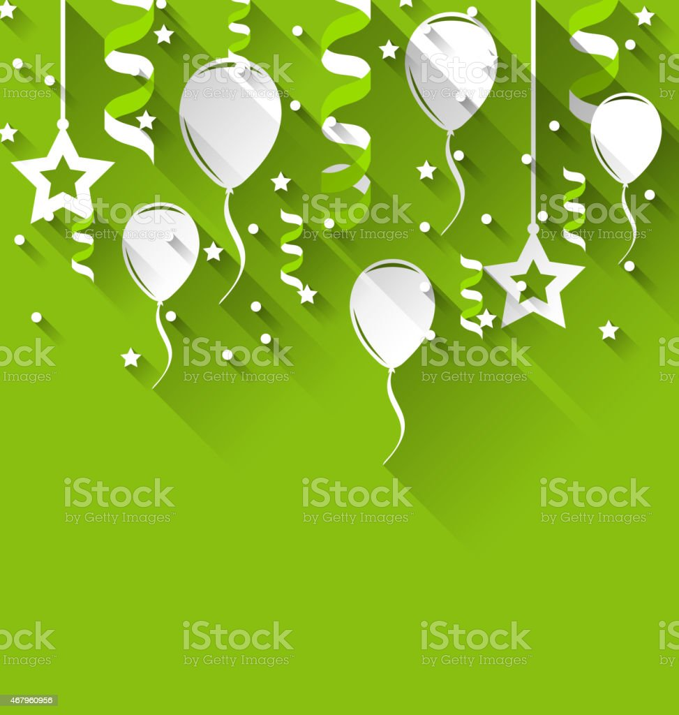 Birthday background with balloons, stars and confetti, trendy fl vector art illustration