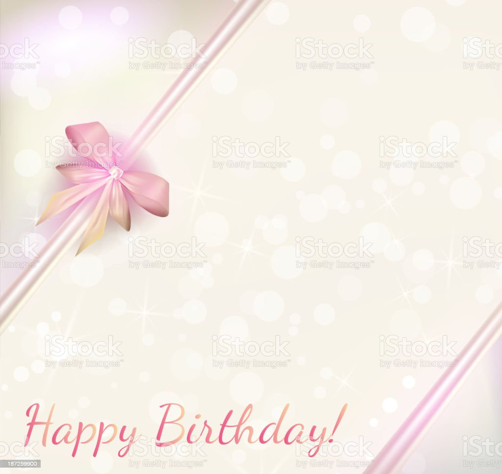 Birthday background with ribbons vector art illustration