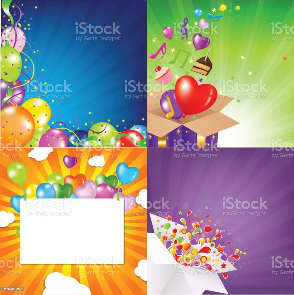 Birthday Backgrounds Set With Sunburst vector art illustration