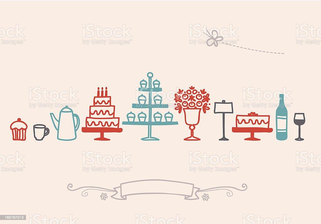 Birthday Banquet Table Setting Icon Set vector art illustration