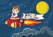 Birthday boy riding a rocket with happy birthday banner