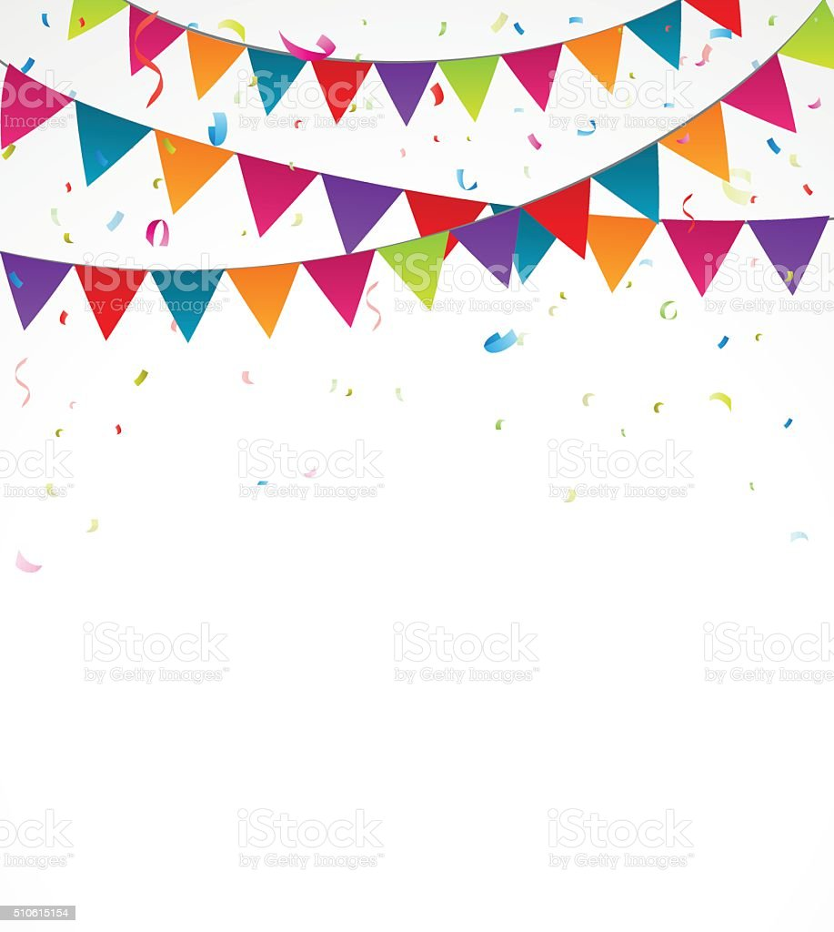 Birthday bunting flags with confetti vector art illustration