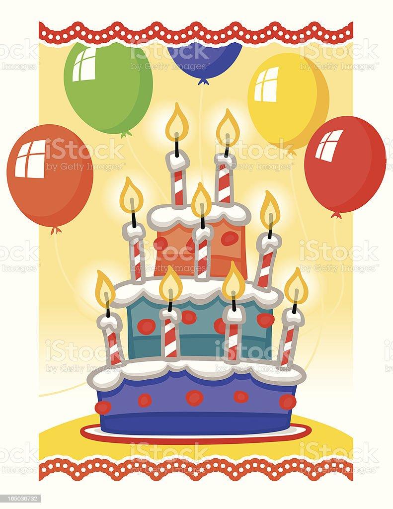 Birthday Cake - Colors vector art illustration