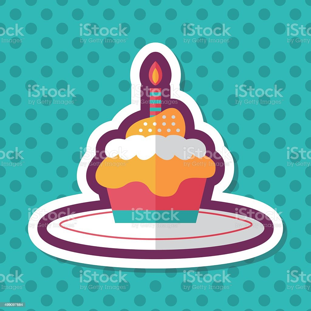 birthday cake flat icon with long shadow,eps10 vector art illustration