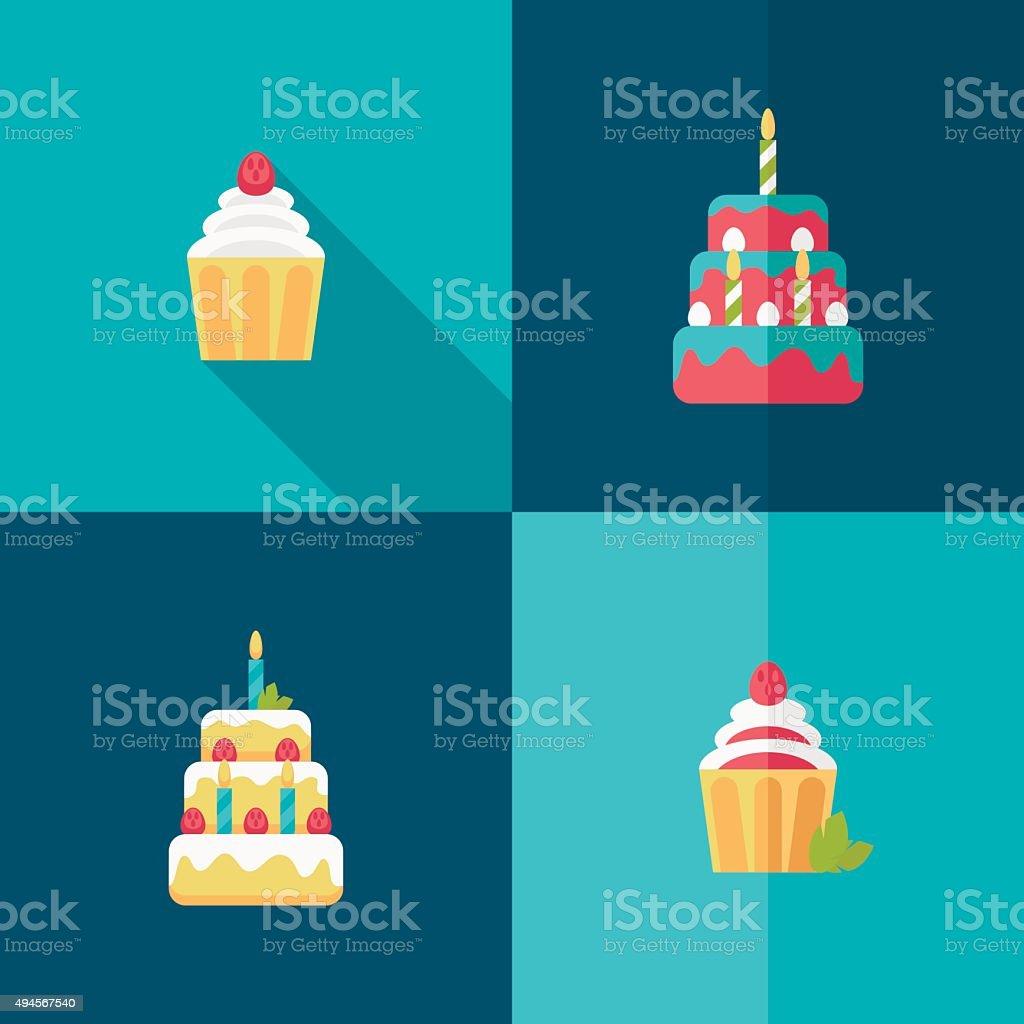 birthday cake flat icon with shadow vector art illustration