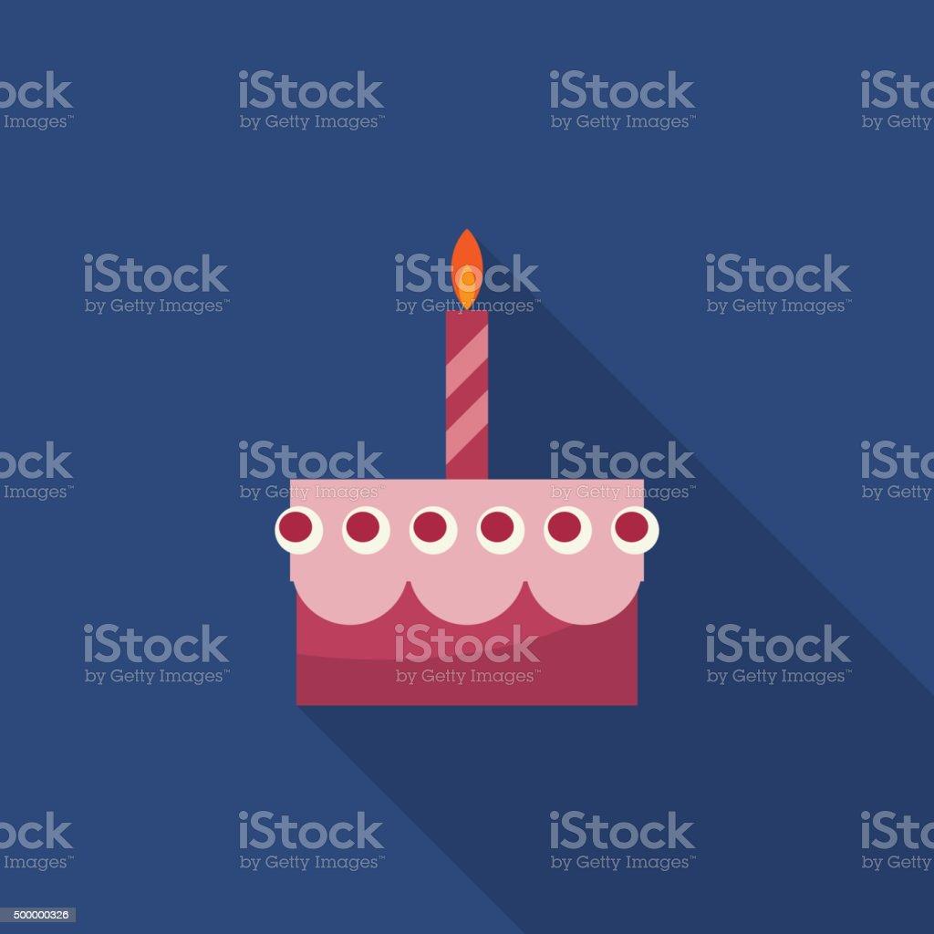 Birthday cake flat vector icon. vector art illustration