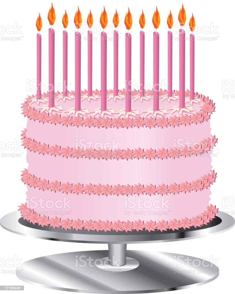 Birthday Cake for a girl with candles vector art illustration