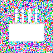 Birthday Cake Icon on Color Circle Background Pattern