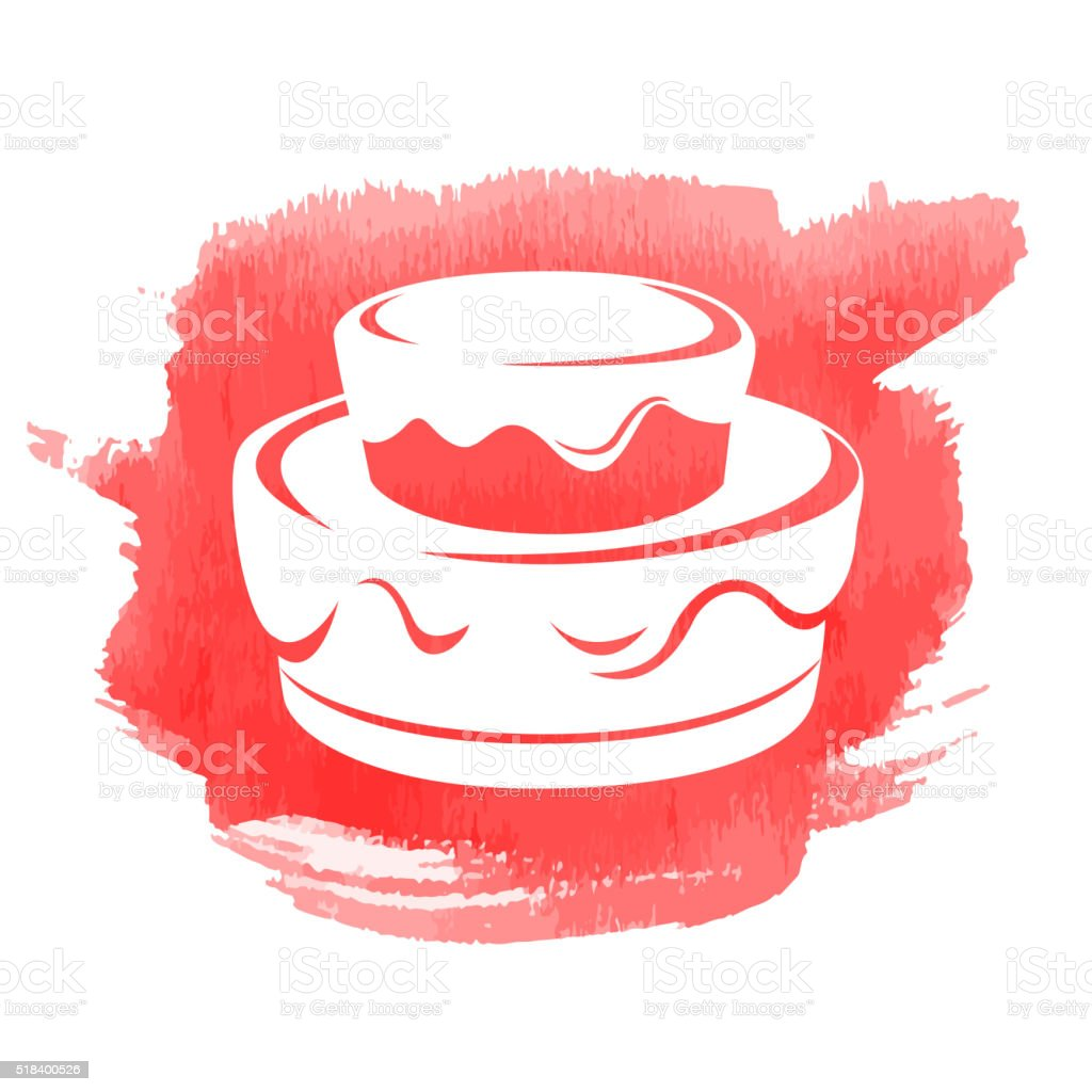 Birthday Cake Icon with Watercolor patch vector art illustration