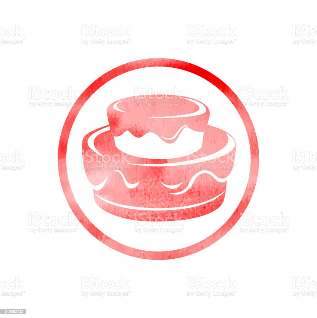 Birthday Cake Icon with Watercolor Texture vector art illustration