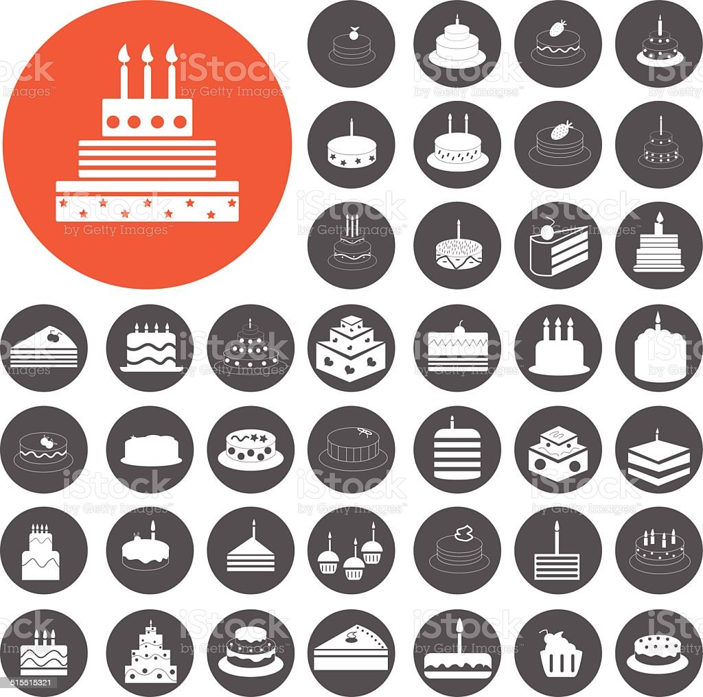 Birthday cake icons set. Illustration eps10 vector art illustration