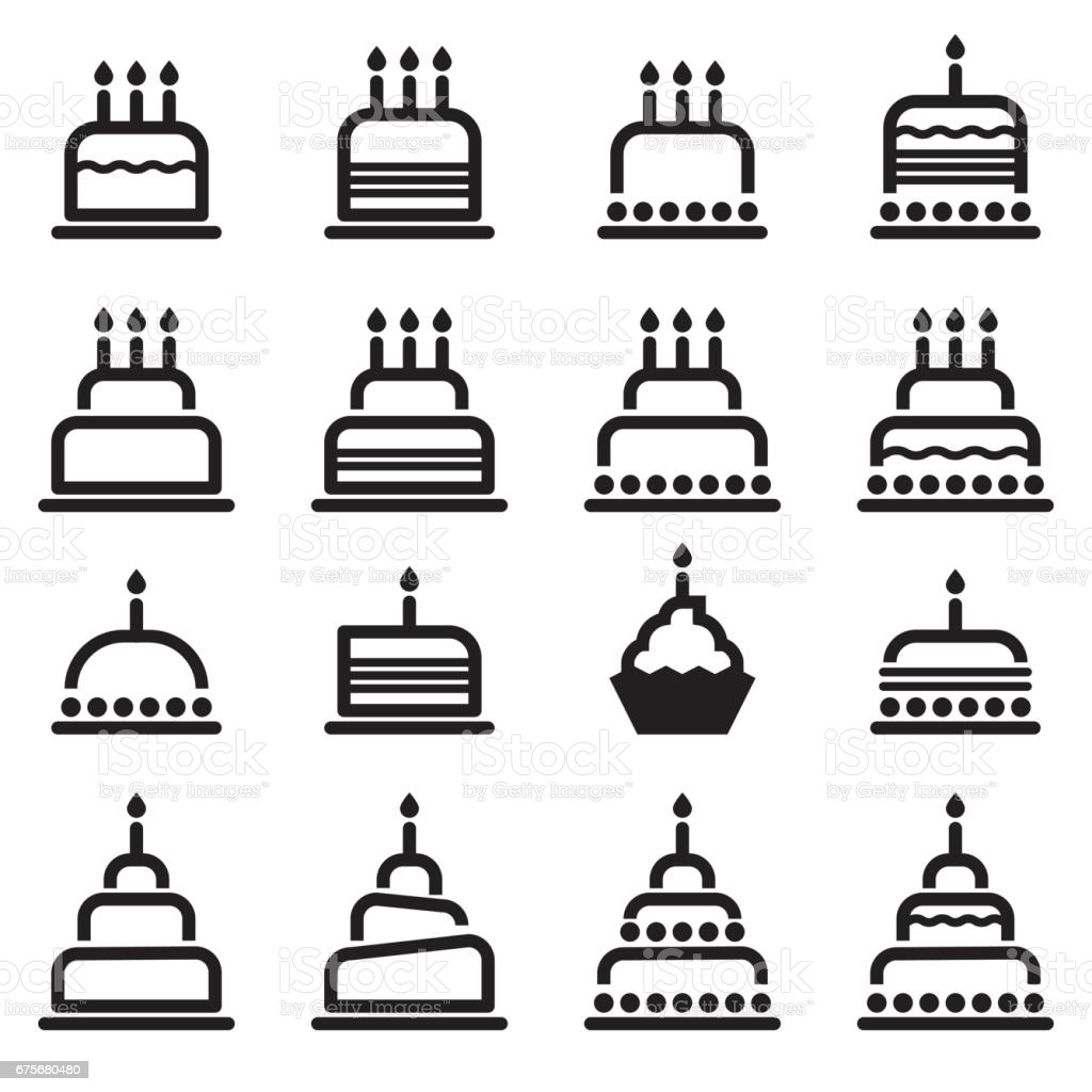 Birthday Cake Icons vector art illustration