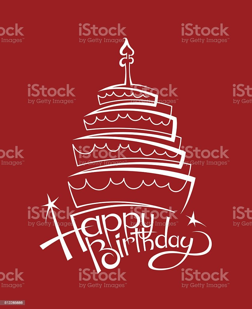 birthday cake image vector art illustration
