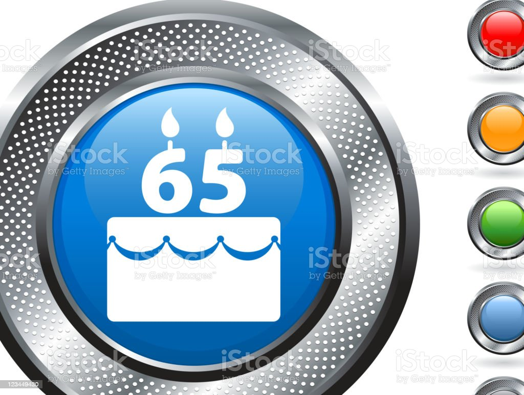 birthday cake royalty free vector art on metallic button royalty-free stock vector art