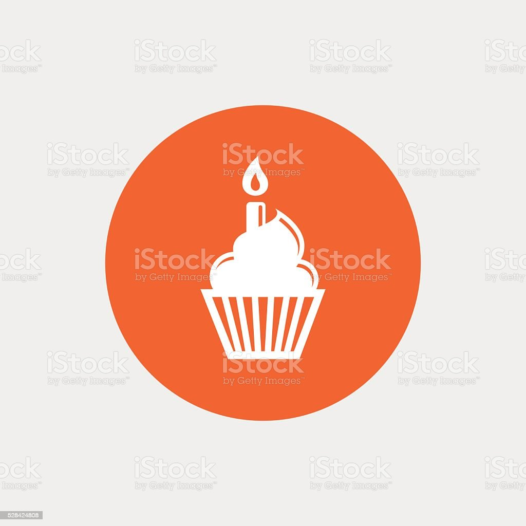 Birthday cake sign icon. Burning candle symbol vector art illustration
