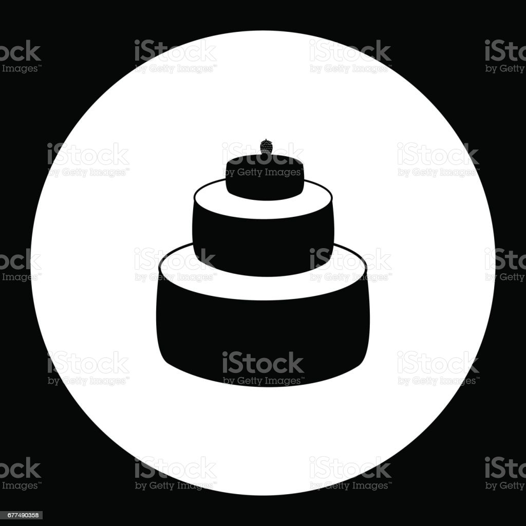 birthday cake simple black isolated icon eps10 vector art illustration
