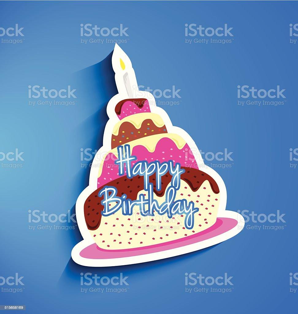 Gâteau d'anniversaire autocollant stock vecteur libres de droits libre de droits
