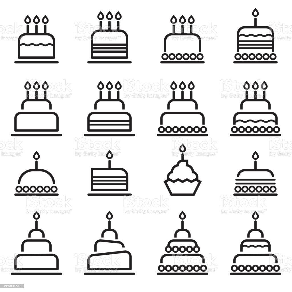Birthday Cake Thin Line Icons vector art illustration