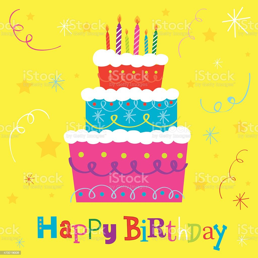 Birthday Cake vector art illustration