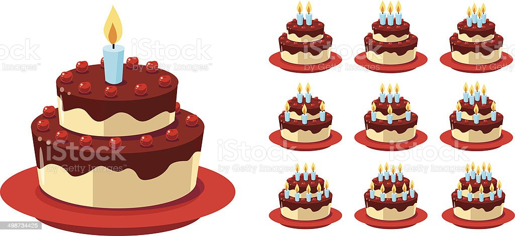 Gateau d'anniversaire vector art illustration