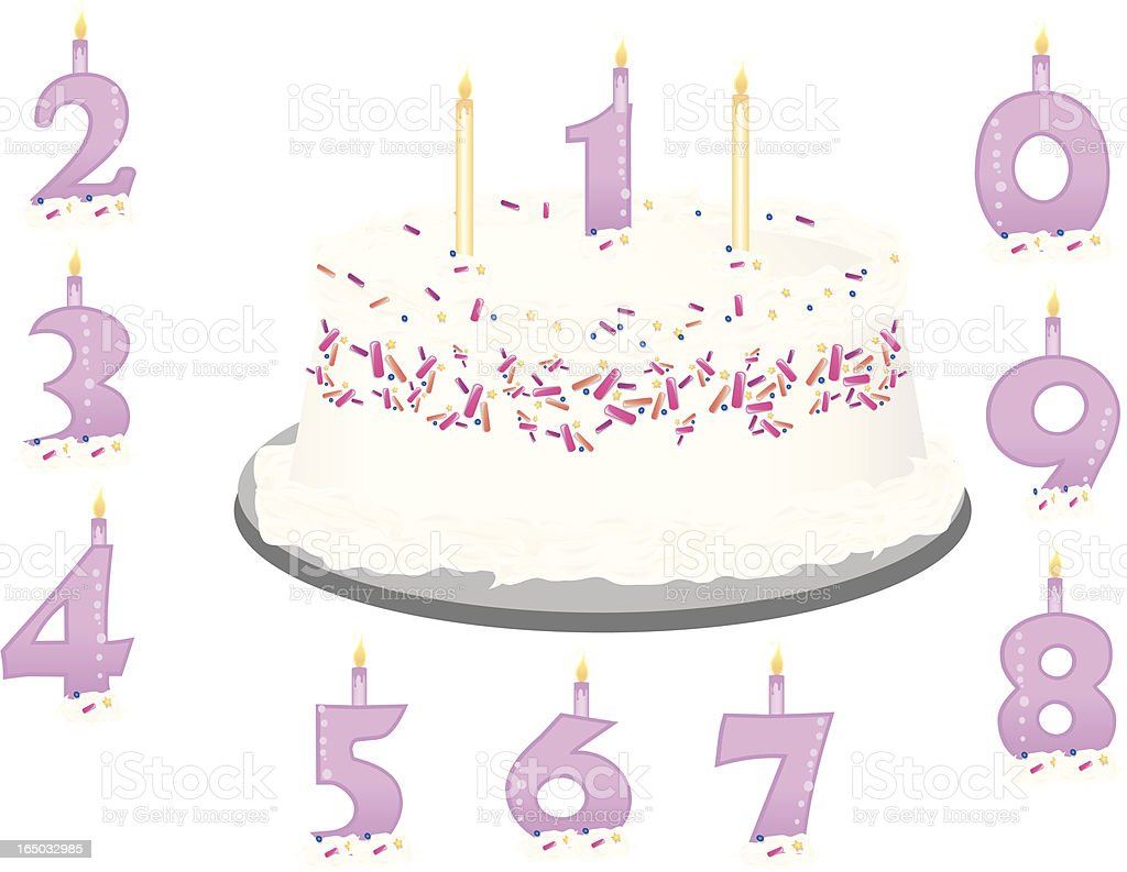 Birthday Cake w/Age Numbers royalty-free stock vector art