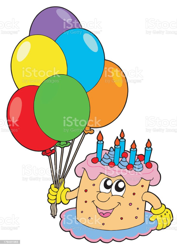 Birthday cake with balloons royalty-free stock vector art