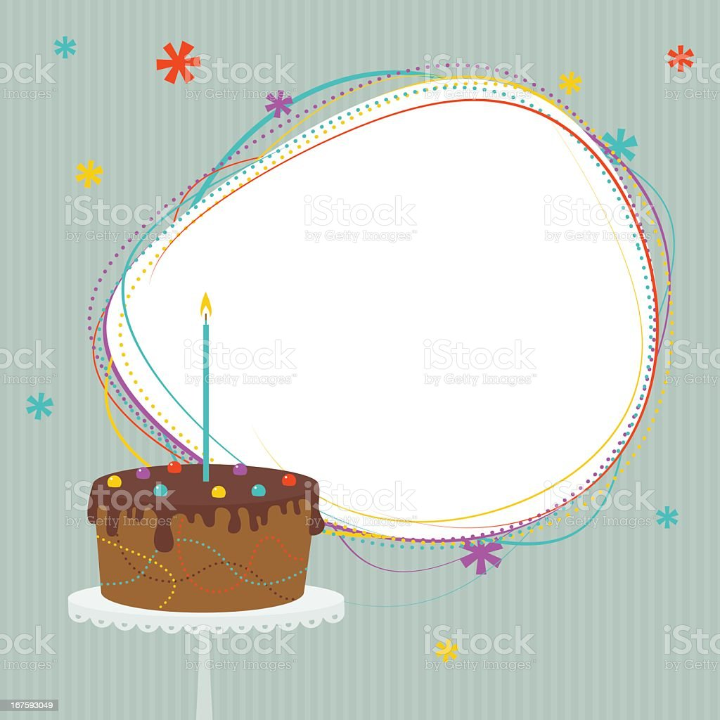 Birthday cake with frame vector art illustration