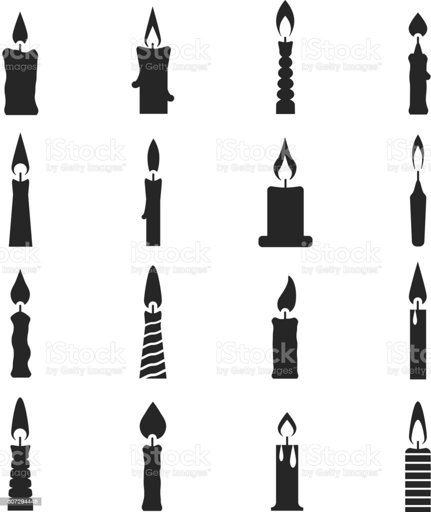 Birthday candle black vector icons isolated on white vector art illustration