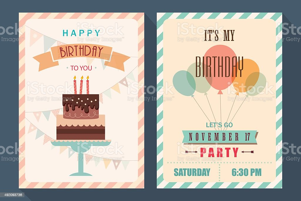 Birthday card and invitation template vector art illustration